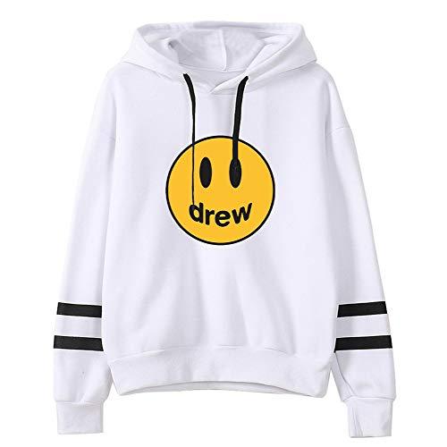 WAWNI 2020 Fashion Hip Hop Winter Drew Hoodies Herren Damen Lächeln Bedruckt Justin Bieber Kapuzen-Sweatshirts Gr. M, weiß