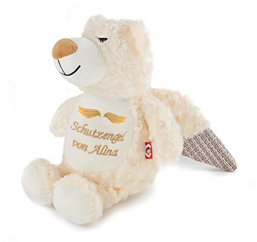 Direkt-Stick.de Schutzengel Teddy Bär mit Namen, Geburtstag oder Text Bestickt, Teddybär mit Flügeln PERSONALISIERBAR, Engelbär Kuscheltier, Plüsch Stofftier Geschenk