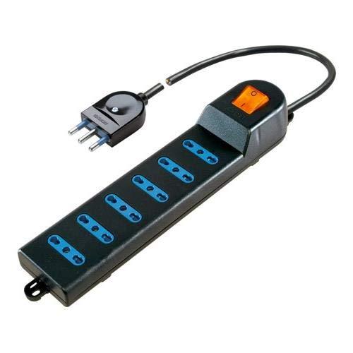 Poly Pool PP0405.2Q meervoudige stekkerdoos met 6 tweewaardige stopcontacten, 1,5 m kabel en schakelaar, zwart