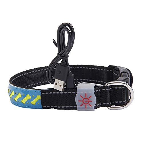 unknow LYCZDP Collar para Perros Collar Led para Perros Emisor De Luz Collar De Cuero Tallado De Alta Gama Collar para Perros Emisor De Luz