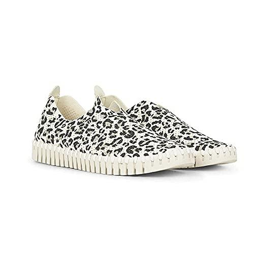 ERLINGO Zapatillas de deporte para mujer, punta redonda, corte bajo, suela gruesa, deslizarse en los zapatos de leopardo de moda, zapatos casuales y cómodos para caminar, color Beige, talla 40 EU
