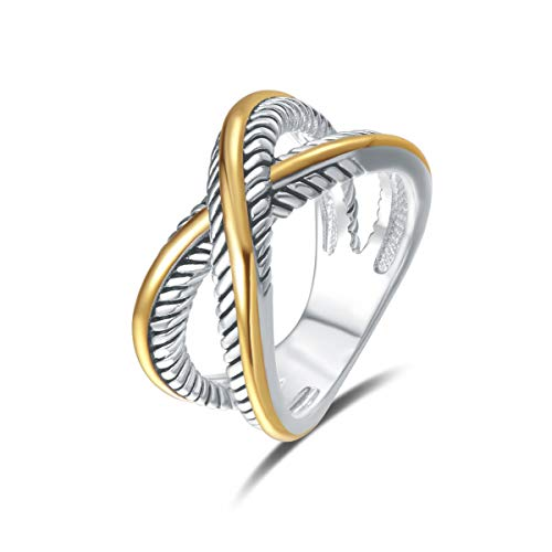 UNY Ring Vintage Designer Fashion Brand Women Valentine Gift Two Tone Plating Twisted Cable Wire Rings (6)