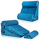 LX8 4pcs 2lay Orthopedic Bed Wedge Pillow Set, Post Surgery Memory Foam for Back, Neck and Leg Pain Relief. Sitting Pillow, Comfortable and Adjustable Pillows Acid Reflux and GERD for Sleeping Blue