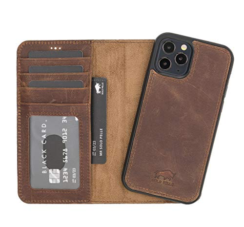 Solo Pelle Lederhülle kompatibel für iPhone 12/12 Pro in 6.1 Zoll abnehmbare Hülle (2in1) inkl. Kartenfächer für das original Apple iPhone 12/12 Pro (Vintage Braun)