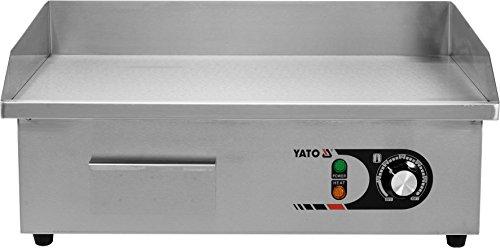 YATO Profi Gastro elektrische Grillplatte | 55x35 cm | glatt | 3000 Watt | Griddle Platte Bräter Grill Indutrie Imbiss