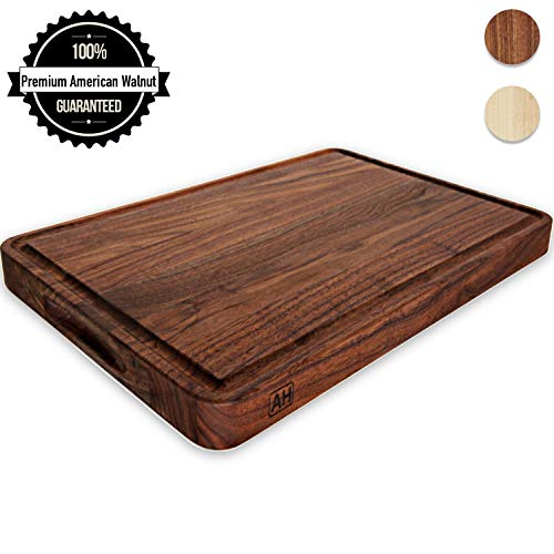 Wood Cutting Board Large Walnut 17x11 Inch Reversible with Handles and Juice Groove, Extra Thick Butcher Block Chopping Board Carving Cheese Charcuterie Serving Handmade by AtoHom
