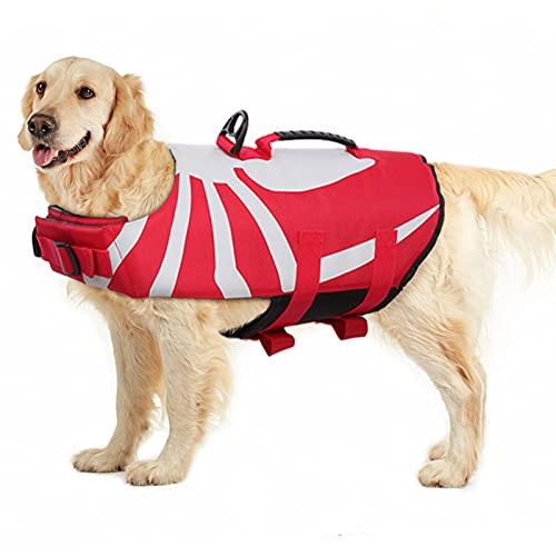 PUMYPOREITY Schwimmweste für Hunde, Rettungsweste Hunde Float Coat Schwimmweste Schwimmtraining mit Rettungsgriff für Kleine, Mittlere, Große Hunde(Rot,XL)