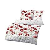 Träumschön Blumen Bettwäsche 155x220 | Bettwäsche Mohnblumen | Renforce Bettwäsche 155x220 | Bettbezug 155x220 | Tolle Sommerbettwäsche