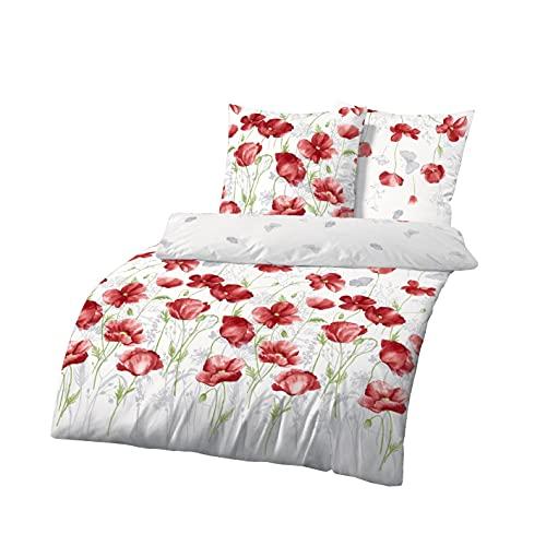 Träumschön Blumen Bettwäsche 135x200 2tlg | Mohnblumen Design | 100% Baumwoll Bettwäsche 135x200 Blumen | Tolle Sommer Bettwäsche Blumen