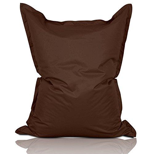 Lumaland PUF otomano Puff XXL 140 x 180 cm 380l con Relleno Innovador Maxi Puff Interior Exterior marrón