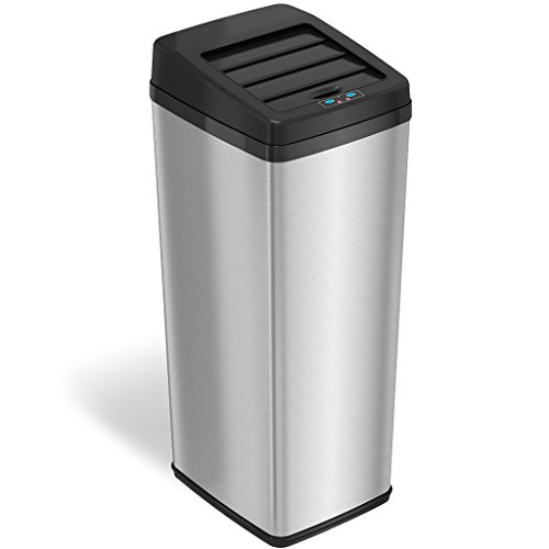 iTouchless 14 Gallon Sliding Lid Automatic Sensor Trash Can with Odor Filter System 53 Liter Stainless Steel Touchless Kitchen Garbage Bin