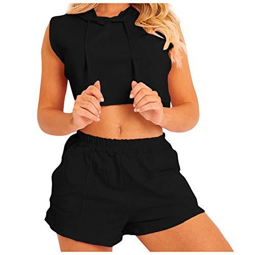 YANFANG Pantalones Cortos para Mujer, de Bolsillo con Chaleco con Capucha para Mujer Traje Casual de Dos Piezas, Black,XL