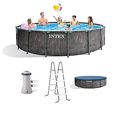 Intex 26741EH 15ft x 48in Greywood Premium Prism Steel Frame Outdoor Above Ground Swimming Pool Set with Cover, Ladder, Pump