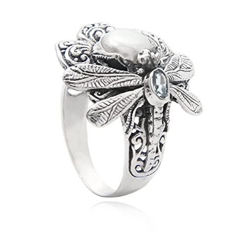 Shadi - Anillo de plata libélula con perla y topacio azul, 16 16 étnico (joyería de plata artesanal - regalo - mujer - hombre - Navidad - Reyes - cumpleaños)