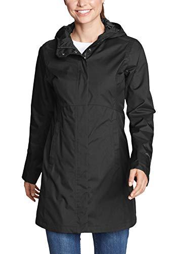 Eddie Bauer Damen Mackenzie Trenchcoat Regenmantel, Schwarz, Large (Herstellergröße: L)