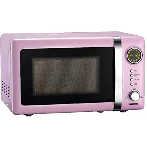 Melissa 16330112 Classico Mikrowelle • Mikrowellenofen • Retro-Design • Metall-Gehäuse • 20 Liter Garraum • 700 Watt Mikrowellenleistung • Timer • 5 Leistungsstufen, Pink Rosa