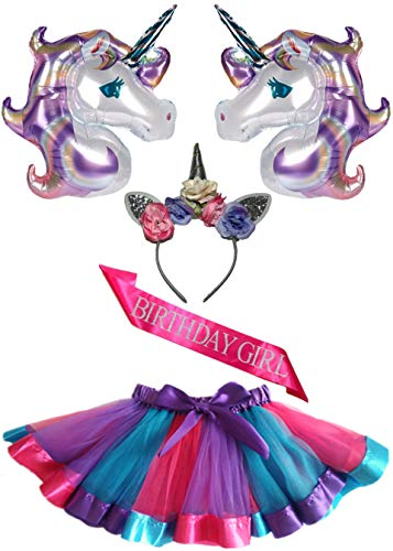 5 Pack - Unicorn Tutu Set - Birthday Girl Outfit - Unicorn Headband, Tutu Skirt, Pink Birthday Girl Sash, Oversized Purple Balloons - Accessories - Costume - Party Supplies