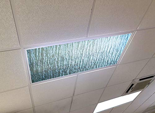 Rippled Glass - 2ft x 4ft Drop Ceiling Fluorescent Decorative Ceiling Light Cover Skylight Film