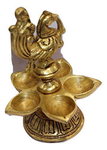 Traditionelle dekorative und handgefertigte Pfauen-Panchvati Diya/Öllampe Aarti Deepam Deepak Diya für Puja Aarti, Festival, Zuhause, Büro, Tempel oder Geschenke, Zweck Artikel täglich Puja Diva (1)