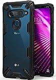 Ringke Fusion-X Kompatibel mit LG V40 ThinQ Hülle, Ergonomische Anti Cling Dot Matrix Transparent Schutzhülle Hart PC Rückseite Case TPU Bumper Cover Kratzfest Handyhülle für LG V 40 - Black Schwarz