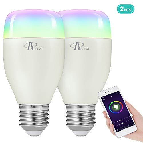 ACCEWIT Lampadina Wi-Fi Smart Bulb Dimmerabile LED Light Lampadina, 20000 ore di vita 16 milioni 7W W6500K+RGB Smart Device e controllo vocale di Amazon Alexa e Google Home Nessun hub richiesto-1 pack