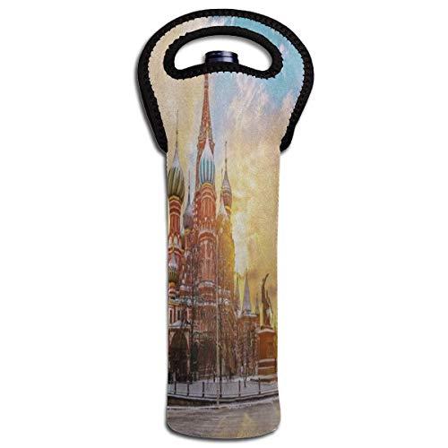 Set Vino Rosso Cattedrale di San Basilio in Piazza Rossa Mosca Russia Tramonto Inverno Protettivo Champagne Tote Bag Portabottiglie Borsa Isolato Imbottito