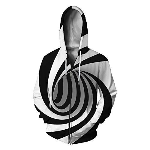 DISCOUNTL Square Vortex Impresión Digital con Capucha Suéter de Cremallera de las Señoras Chaquetas Sudadera Mujer Casual Manga Larga Otoño e Invierno Abrigo Mujer