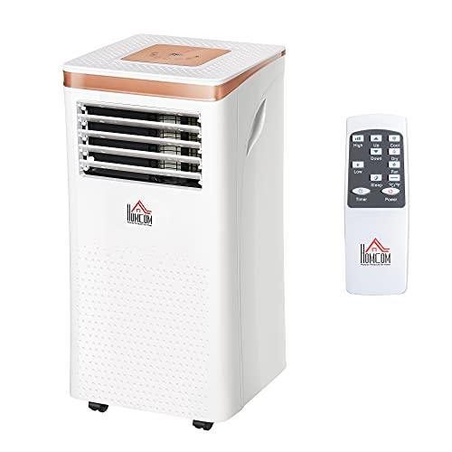 HOMCOM Condizionatore Portatile Deumidificatore con Telecomando, Timer 24h e 2 Velocità, 1122W Classe Energetica A, 10000BTU, 35.5x34x70cm Bianco