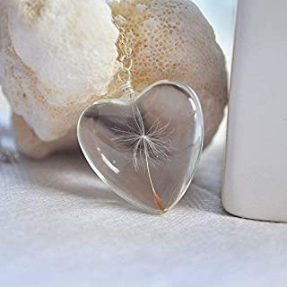 Dandelion Seed Make a Wish Real Flowers Big Heart Love Glass Pendant 925 Sterling Silver Necklace