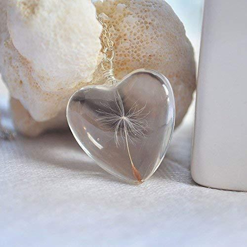 Diente de león Pide un deseo Real Flores Grande Corazón Amor Vaso Colgante Plata Esterlina 925 Cadena Collares
