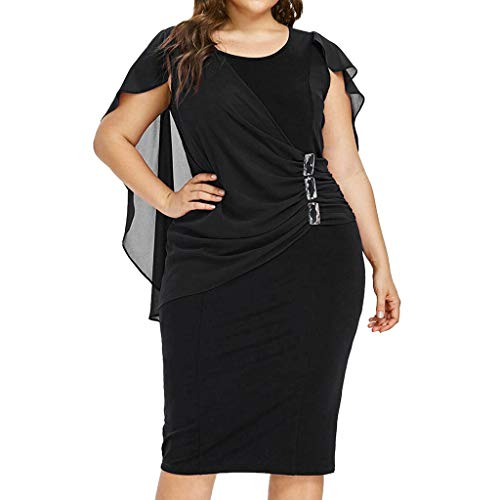 Zegeey Damen Große Größen Kleid Rundhals ÄRmellos Einfarbig Chiffon Summer Casual Abendkleid Party Ballkleid Rockabilly Minikleid Cocktailkleid Basic Kleid(Schwarz,48 DE/2XL CN)