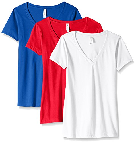 Clementine Apparel Women's Petite Plus Ideal V-Neck T-Shirt (Pack of 3), Royal\Scarlet\White, M