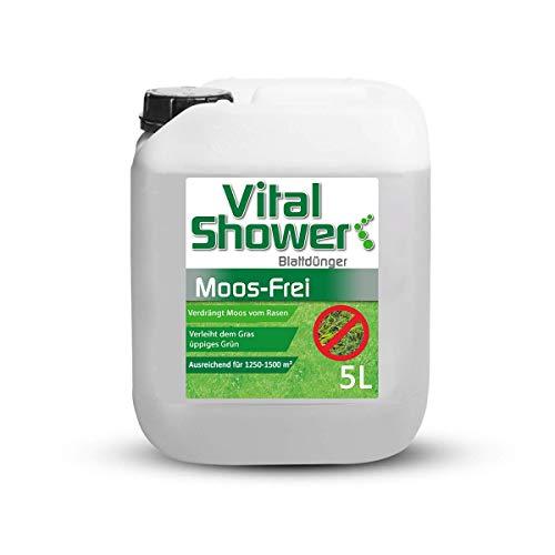 Terra Domi Vital Shower Moos Frei, 5 L, Rasendünger für bis zu 1500 m², Flüssigdünger für sattes & gleichmäßiges Grün, Verdrängt Moos, Blattdünger …