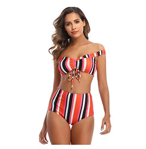 Heetey Conjunto de bikini para mujer con relleno push-up y sujetador acolchado para mujer, traje de baño, traje de baño para playa, traje de baño con espalda cruzada multicolor M