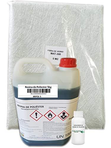 riegoprofesional - Resina di Poliestere da 5kg per riparazioni. fibra 5m2, resina di Poliestere da 5kg, catalizzatore di perossido, 100g.
