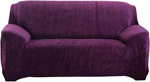 Hengweiuk Dicker Sofabezug in reiner Farbe, Sofaschoner, 1/2/3/4-Sitzer, Samt-Sofa-Schonbezug, dehnbar, einfache Passform, stilvolle Möbel-Abdeckung, Haustier-Hunde-Schutz (lila, 2-Sitzer/Loveseat)
