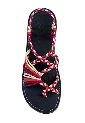 Capana Criss Cross Sommer Handgewebte Seil Flache Sandalen für Damen Banyan, Rot (Beetroot-Lachs-Creme), 37 EU