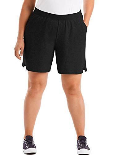 Just My Size Women's Plus Cotton Jersey Pull-On Shorts - 2X Plus - Black