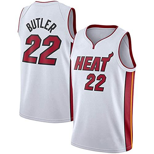 WEIZI Jersey para Hombres NBA Jimmy Butler Miami Heat # 22 Transpirable Bordado Baloncesto Swingman Jersey,Blanco,3XL