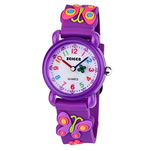 Orologio Bambino Zeiger Watch bambina ragazza 3D modello Butterfly Purple Time insegnante orologio quadrante KW106 orologio bambina bambini orologio quarzo da ragazze