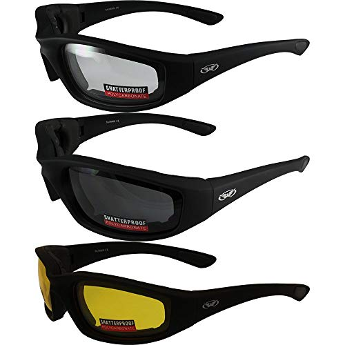 3 Pairs of Global Vision Kickback Black Foam Padded Motorcycle Riding Sunglasses 1 Clear Lens 1 Smoke Lens and 1 Yellow Lens