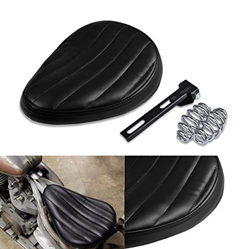 NATGIC Harley - Cojín de asiento individual para motocicleta, soporte de sillín para Harley Cruiser Bobber Chopper Harley Honda, Yamaha, Suzuki, Kawasaki, color negro
