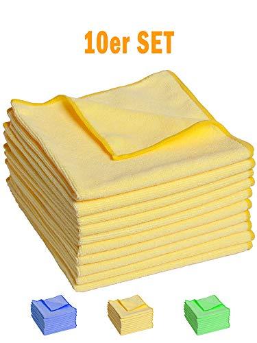 FloKa69® 10er Set Mikrofasertücher 40x40 cm für Haushalt – Putztuch – Staubtuch fusselfrei weich
