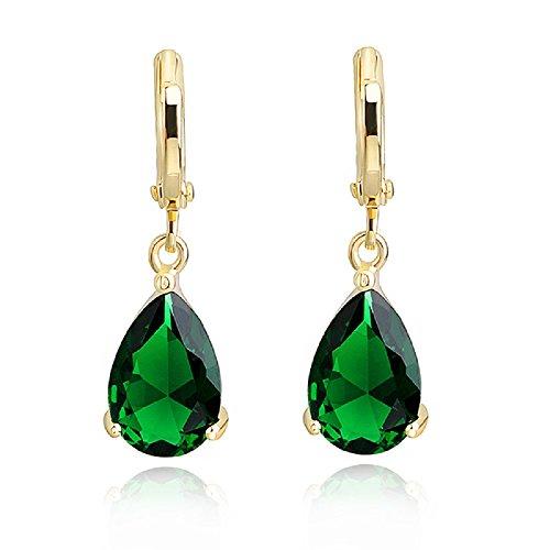 Tropfenform Ohrhänger mit Grüner simulierter Smaragd Österreichische Zirkonia Kristalle 18 kt Vergoldet für Damen