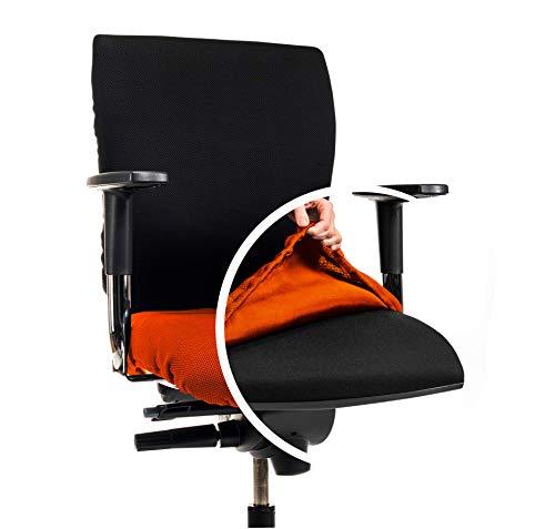 CLEANCHAIR Bürostuhlbezug für die SITZFLÄCHE (Größe Standard) - Sitzflächengröße ca. 40-52 cm Breite und ca. 40-52 cm Tiefe (Orange)