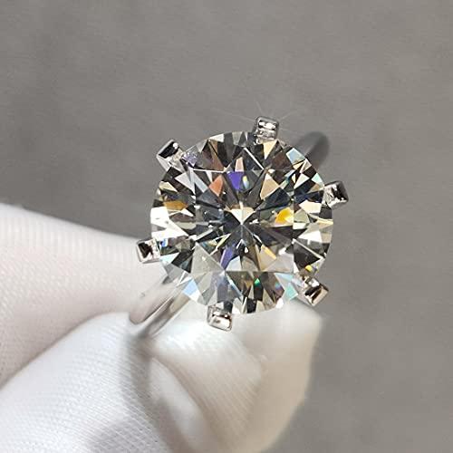 YANGYUE Corte, Prueba de Diamante aprobada, 5 Quilates, Anillo de moissanita de Color D, Anillos de Compromiso de Plata de Ley 925, joyería