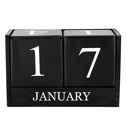DEWIN Calendario perpetuo in Legno Vintage, Calendario eterno con datario, per Anziani e Bambini, Oggetti di Scena, visualizzazione della Settimana per Mese(Nero)
