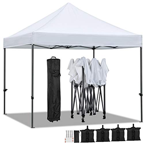 YAHEETECH Pop Up Canopy Tent, Commercial Instant Shelter Tent, Heavy Duty Event Tent Pavilion, Portable Waterproof Canopy Folding, Wheeled Bag, Canopy Sandbags x4, Tent Stakesx4, 10x10 FT (White)