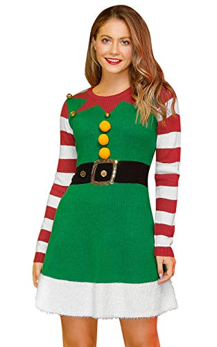 Christmas Women's Ugly Long Sleeve Sweater Dress Red Striped Crewneck Swing Elf Costume L