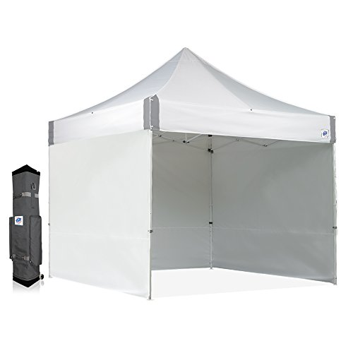 ES100S ES100S910WHRCVP Commercial, 10' x 10' with 3, 1 Mid-Zip Sidewall and Wide-Trax Roller Bag, White E-Z Instant Shelter Canopy, 10 by 10'